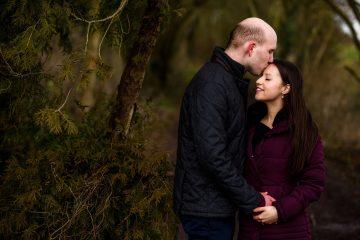 a romantic moment between a couple at newbold comyn