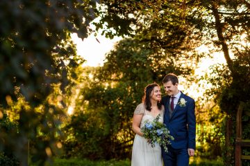 bride and groom portrait in some lovely evening sunlight