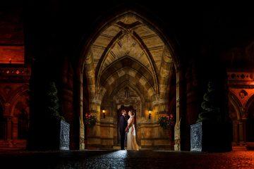 bride and groom portrait outside Ettington Park