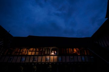 night time shot of the bride and groom at Lord Leycester Hospital