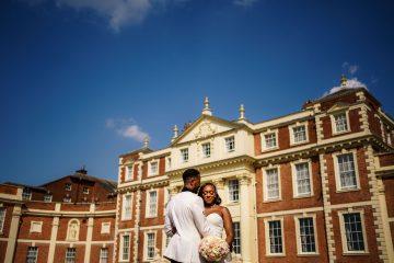 bride and groom portrait outside Hawkstone Hall